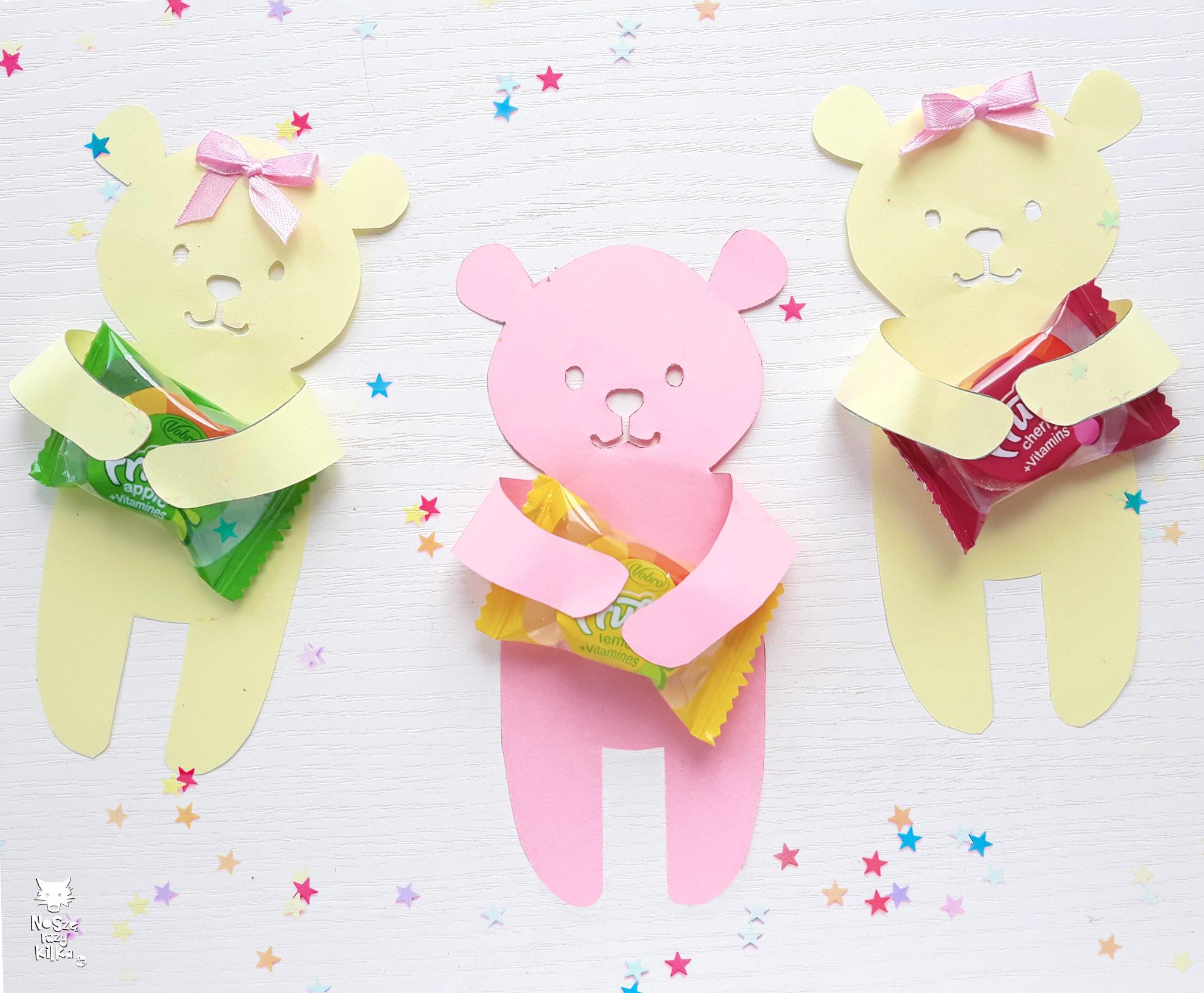 Podziękowania dla gości misie cukierki urodziny impreza przyjęcie