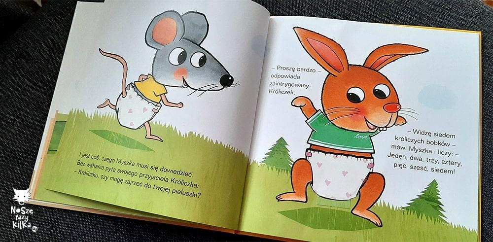 """""""Ale kupa! Co masz w pieluszce?"""" Guido van Genechten, wyd. Nasza Księgarnia"""